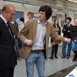 The Chancellor is shown the Cambridge University ECO Racing vehicle by Anthony Law, team manager