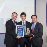 Water Engineer Jamie Radford 24 (centre) has won top spot in the annual Graduate Awards run by New Civil Engineer (NCE) magazine