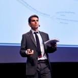 Luca Di Mario presents his group's findings at the International Water Week