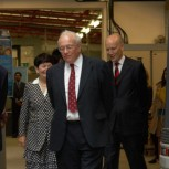 The Chancellor with Professor Dame Alison Richard, Professor Malcolm Bolton, and Professor Robert Mair