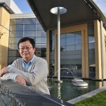 Professor Daping Chu outside the Electrical Engineering department