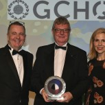 Centre Professor David Cardwell FREng, receives the award on behalf of the Department