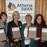 Presentation of Athena SWAN awards with Professor Keith Glover and Dr Kate Knill on the far left