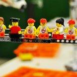 Lunch atop a Lego crane