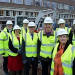 Image L-R: Greg Smith (Site Manager, Morgan Sindall), Professor Dame Ann Dowling (President, Royal Academy of Engineering), Angu