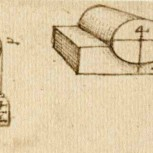 Image: Sketches dating from 1506-8 showing attempts to analyse the friction on a cylinder supported in a half-bearing
