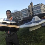 Keno with the CUER Endeavour Solar Car 2012 and a model Evolution