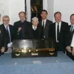 The speakers, the chairs and the sponsor of the telescope