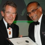 Professor Gehan Amaratunga (right) receives Royal Academy of Engineering's Silver Medal