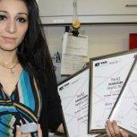 PhD student Heba Bevan with her sensor device named `Utterberry'