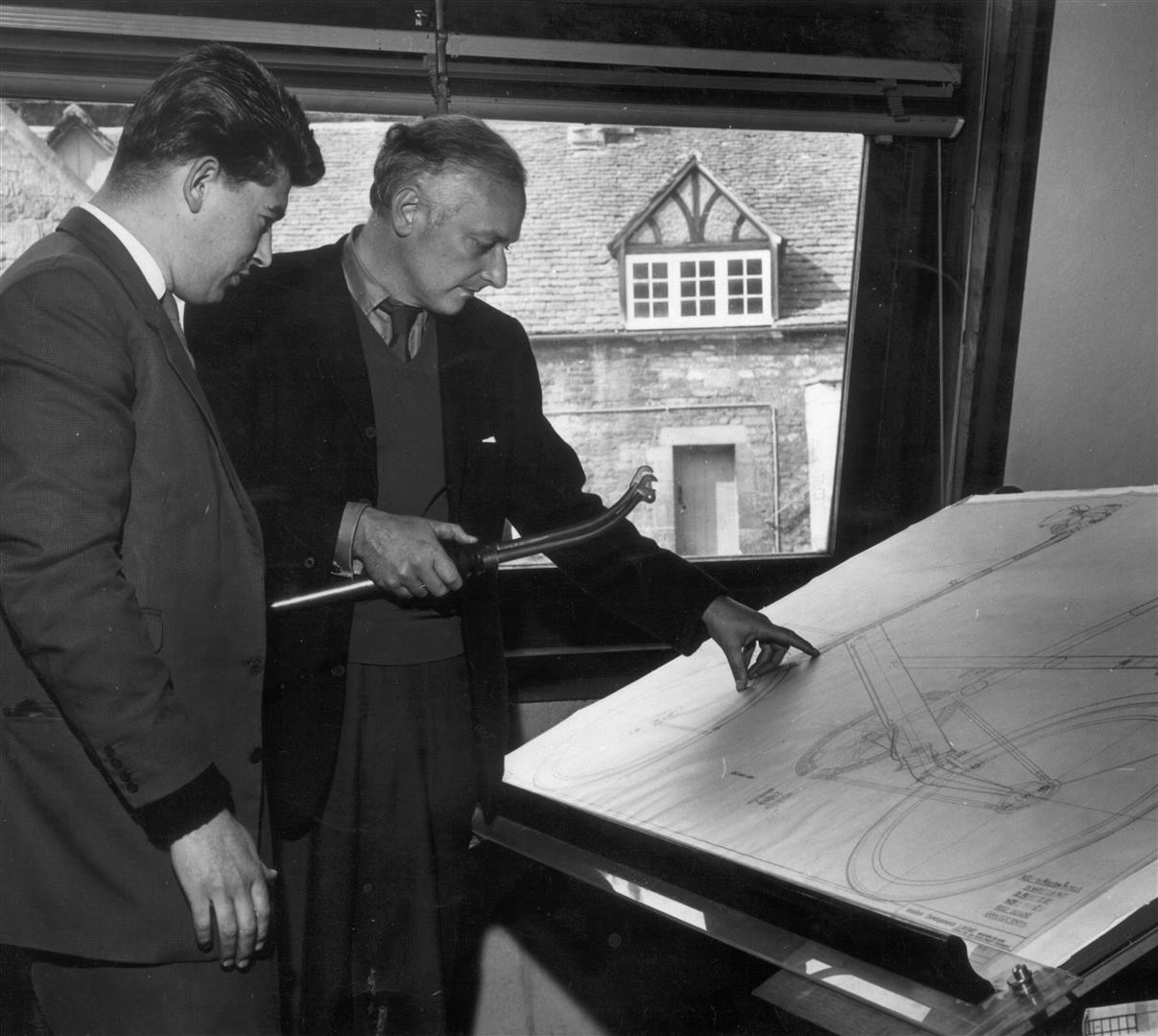 Alex Moulton and Brian Cottrell in Drawing Office 1962
