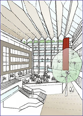 An impression of the atrium which would replace the current courtyard (Nicholas Ray Associates)